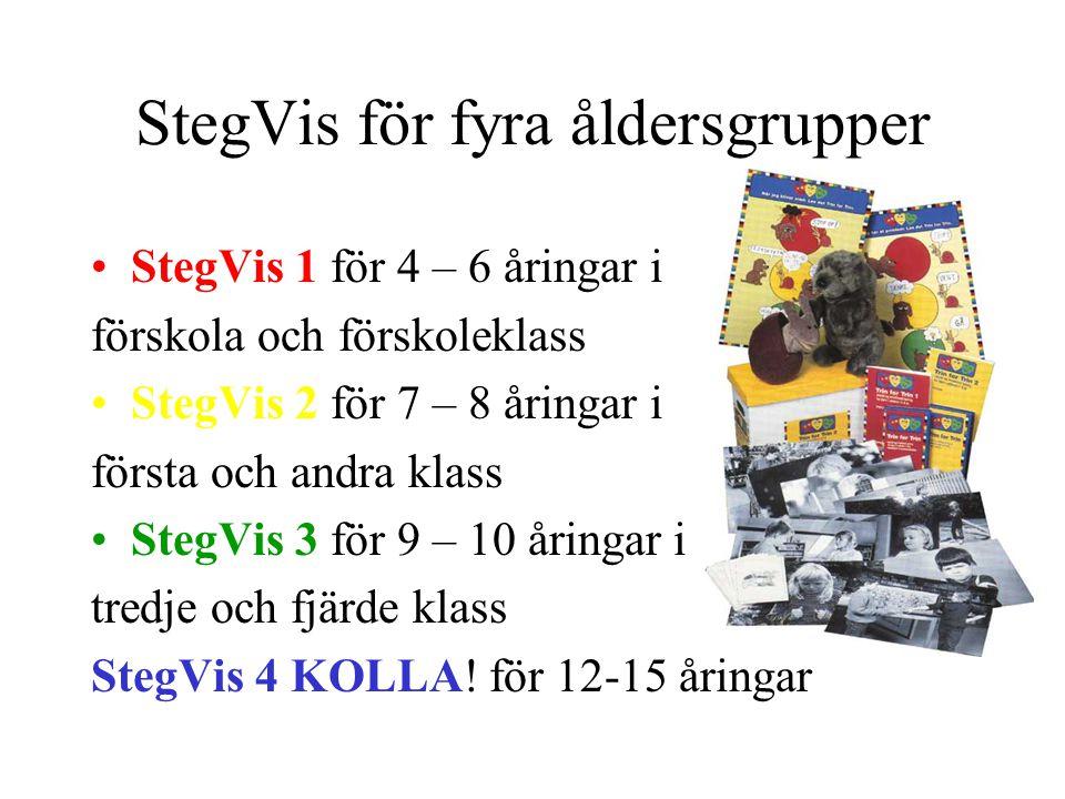 StegVis för fyra åldersgrupper StegVis 1 för 4 – 6 åringar i förskola och förskoleklass StegVis 2 för 7 – 8 åringar i första och andra klass StegVis 3