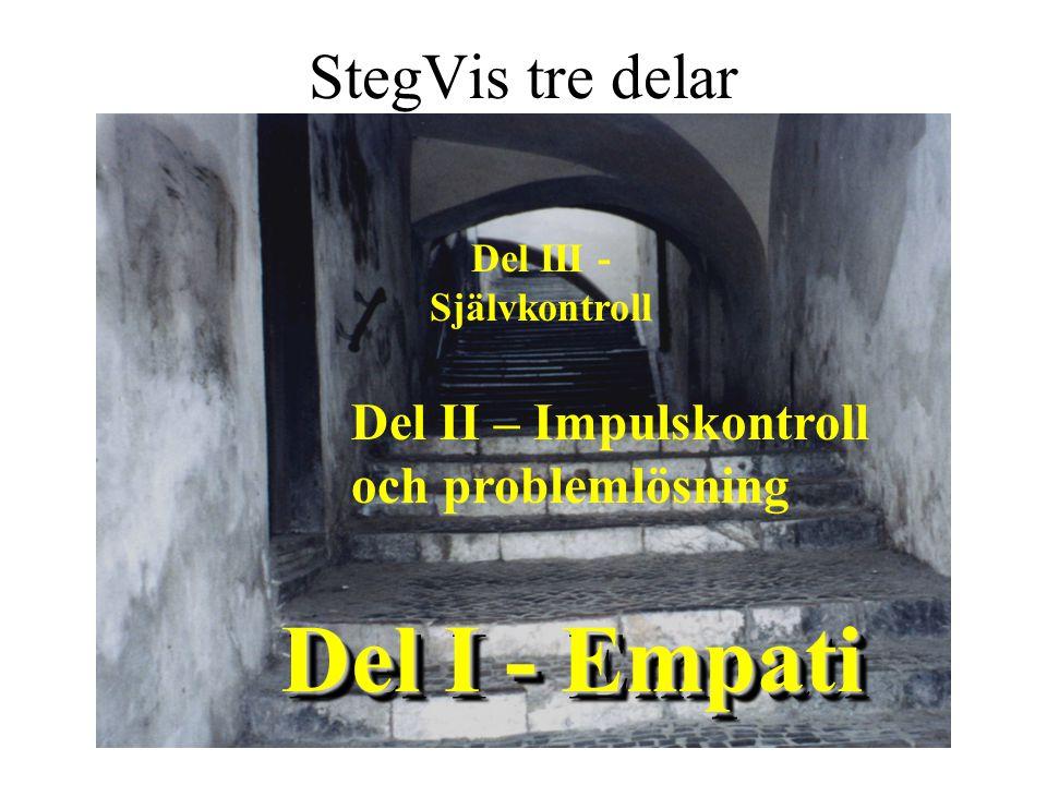 Del I - Empati Del II – Impulskontroll och problemlösning Del III - Självkontroll StegVis tre delar