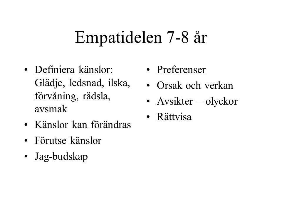 Empatidelen 7-8 år Definiera känslor: Glädje, ledsnad, ilska, förvåning, rädsla, avsmak Känslor kan förändras Förutse känslor Jag-budskap Preferenser