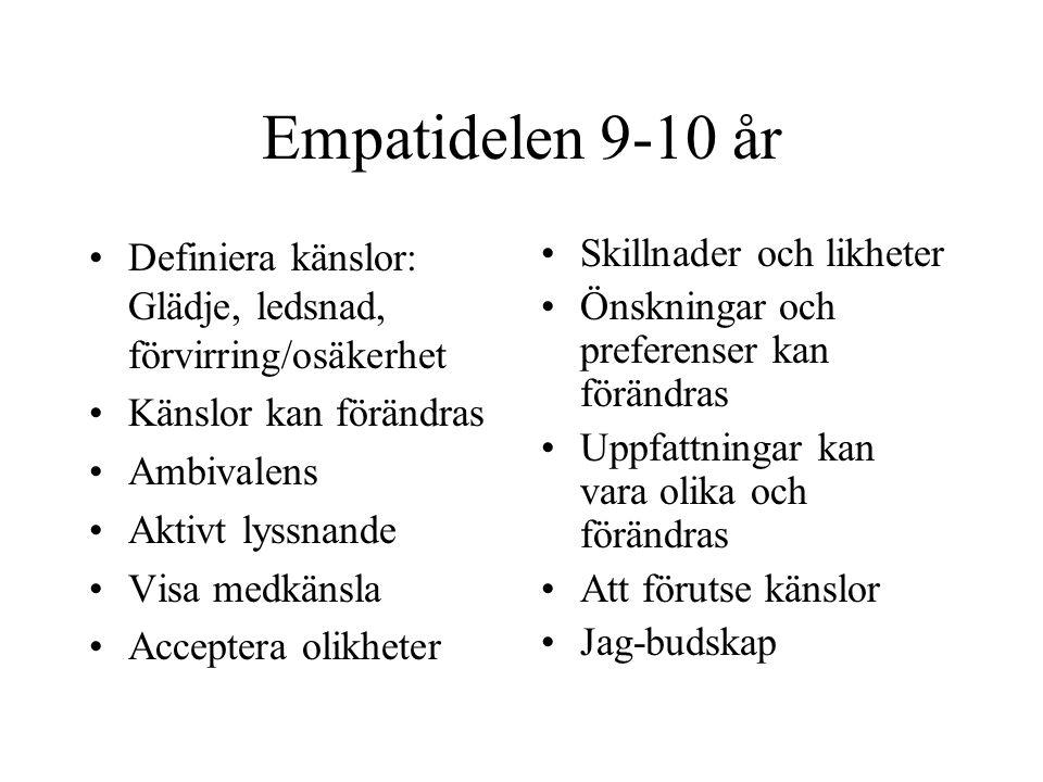 Empatidelen 9-10 år Definiera känslor: Glädje, ledsnad, förvirring/osäkerhet Känslor kan förändras Ambivalens Aktivt lyssnande Visa medkänsla Accepter