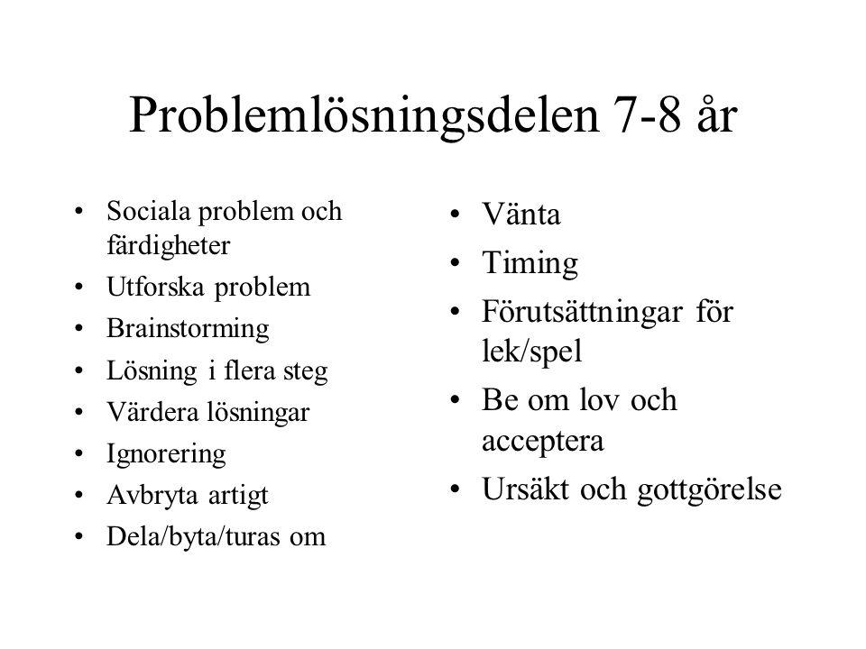 Problemlösningsdelen 7-8 år Sociala problem och färdigheter Utforska problem Brainstorming Lösning i flera steg Värdera lösningar Ignorering Avbryta a