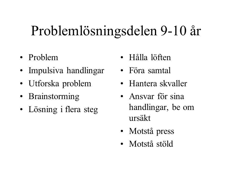 Problemlösningsdelen 9-10 år Problem Impulsiva handlingar Utforska problem Brainstorming Lösning i flera steg Hålla löften Föra samtal Hantera skvalle