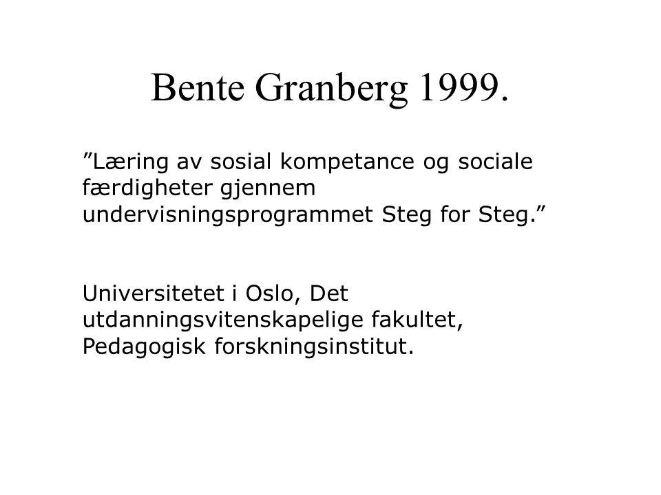 """""""Læring av sosial kompetance og sociale færdigheter gjennem undervisningsprogrammet Steg for Steg."""" Universitetet i Oslo, Det utdanningsvitenskapelige"""