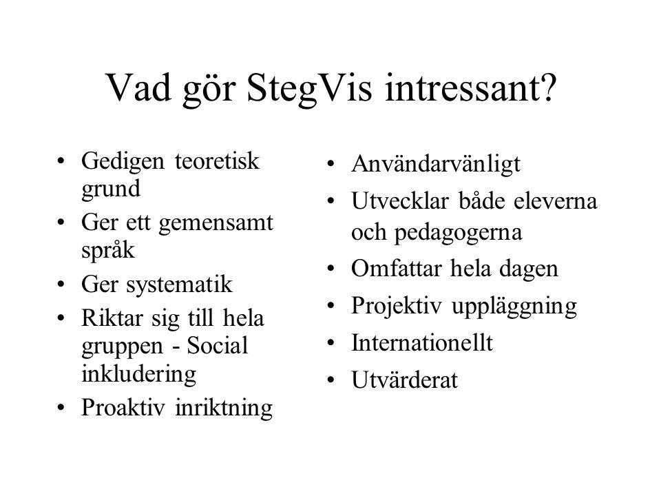 Vad gör StegVis intressant? Gedigen teoretisk grund Ger ett gemensamt språk Ger systematik Riktar sig till hela gruppen - Social inkludering Proaktiv
