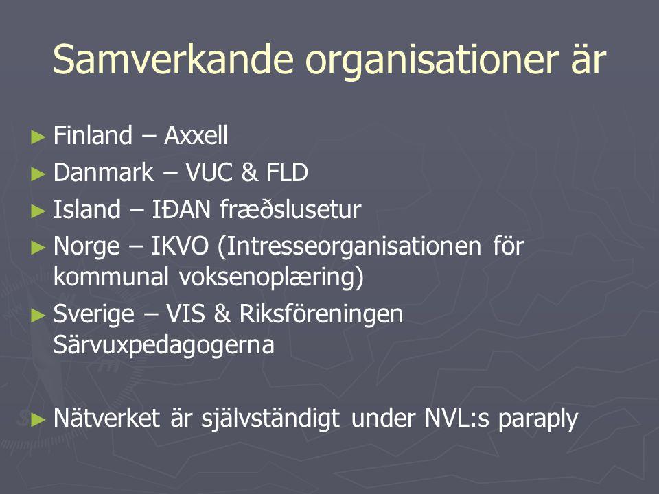 Samverkande organisationer är ► ► Finland – Axxell ► ► Danmark – VUC & FLD ► ► Island – IÐAN fræðslusetur ► ► Norge – IKVO (Intresseorganisationen för