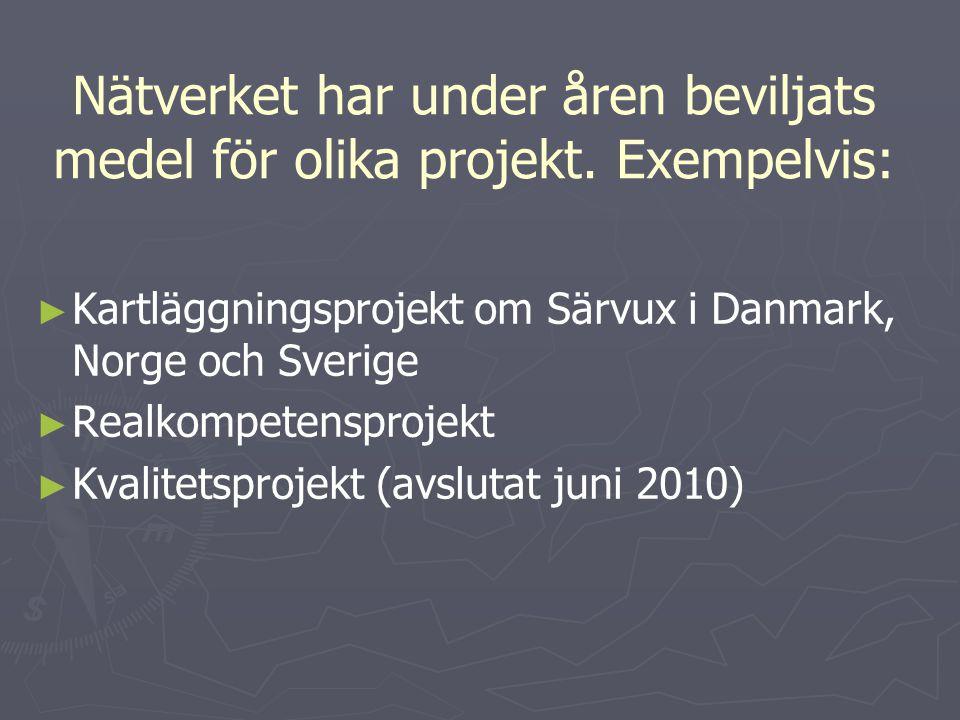 Nätverket har under åren beviljats medel för olika projekt. Exempelvis: ► ► Kartläggningsprojekt om Särvux i Danmark, Norge och Sverige ► ► Realkompet