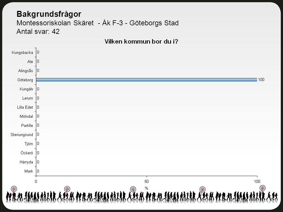 Bakgrundsfrågor Montessoriskolan Skäret - Åk F-3 - Göteborgs Stad Antal svar: 42