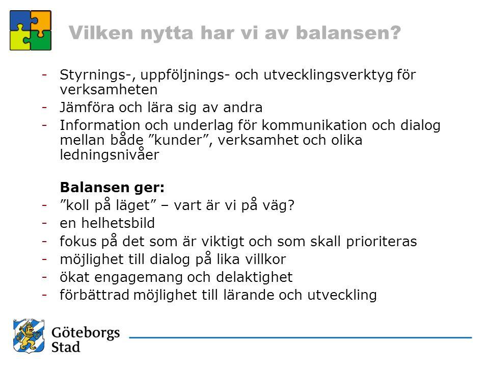 Vilken nytta har vi av balansen? -Styrnings-, uppföljnings- och utvecklingsverktyg för verksamheten -Jämföra och lära sig av andra -Information och un