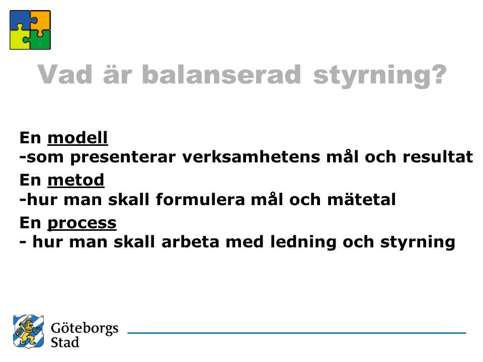 Modell för Balanserad styrning Den vi finns till för (kund) Uppdrag/ ekonomi Verksamhet/ processer Verksamhetsidé Vision Värderingar Strategier Mätetal Medarbetare/ utveckling Mål MätetalMål MätetalMål