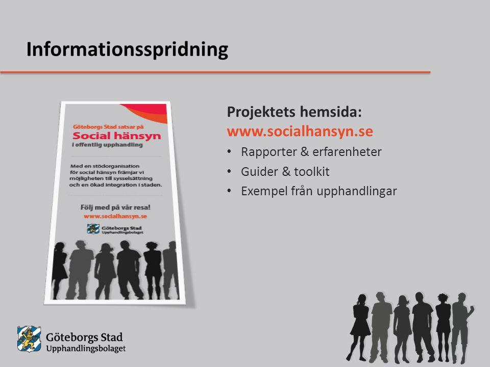 Projektets hemsida: www.socialhansyn.se Rapporter & erfarenheter Guider & toolkit Exempel från upphandlingar Informationsspridning