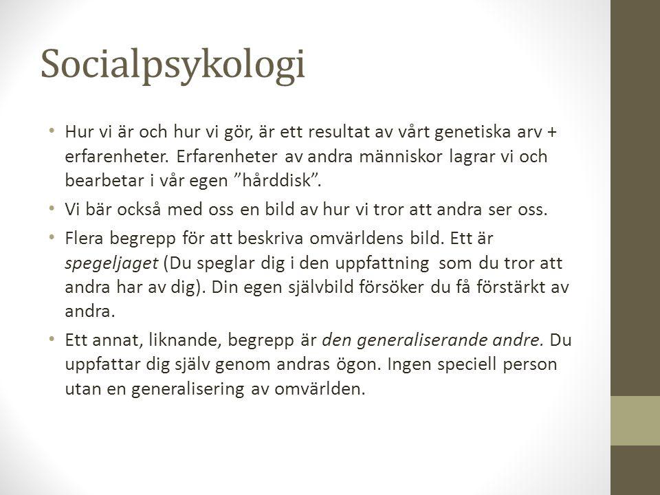 Socialpsykologi Hur vi är och hur vi gör, är ett resultat av vårt genetiska arv + erfarenheter.