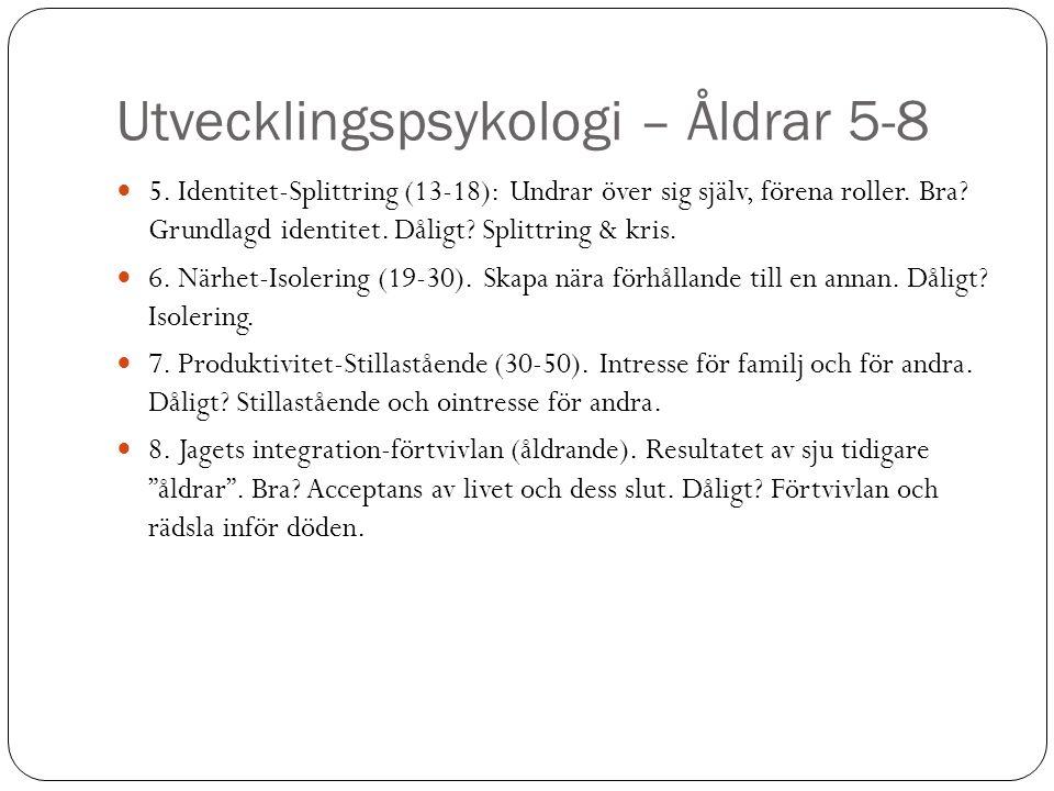 Utvecklingspsykologi – Åldrar 5-8 5. Identitet-Splittring (13-18): Undrar över sig själv, förena roller. Bra? Grundlagd identitet. Dåligt? Splittring