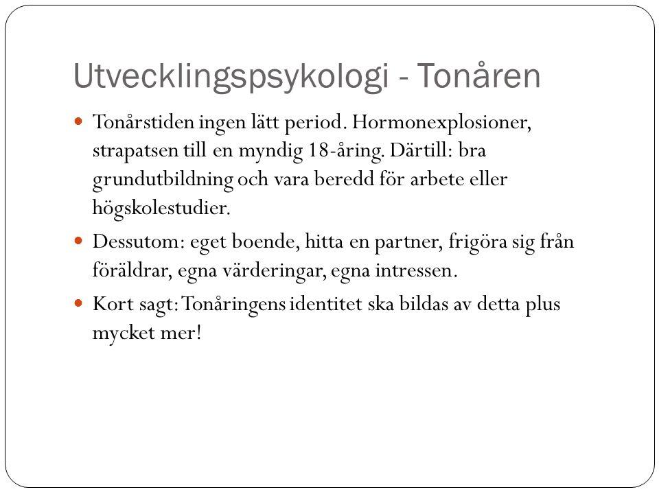 Utvecklingspsykologi - Tonåren Tonårstiden ingen lätt period. Hormonexplosioner, strapatsen till en myndig 18-åring. Därtill: bra grundutbildning och