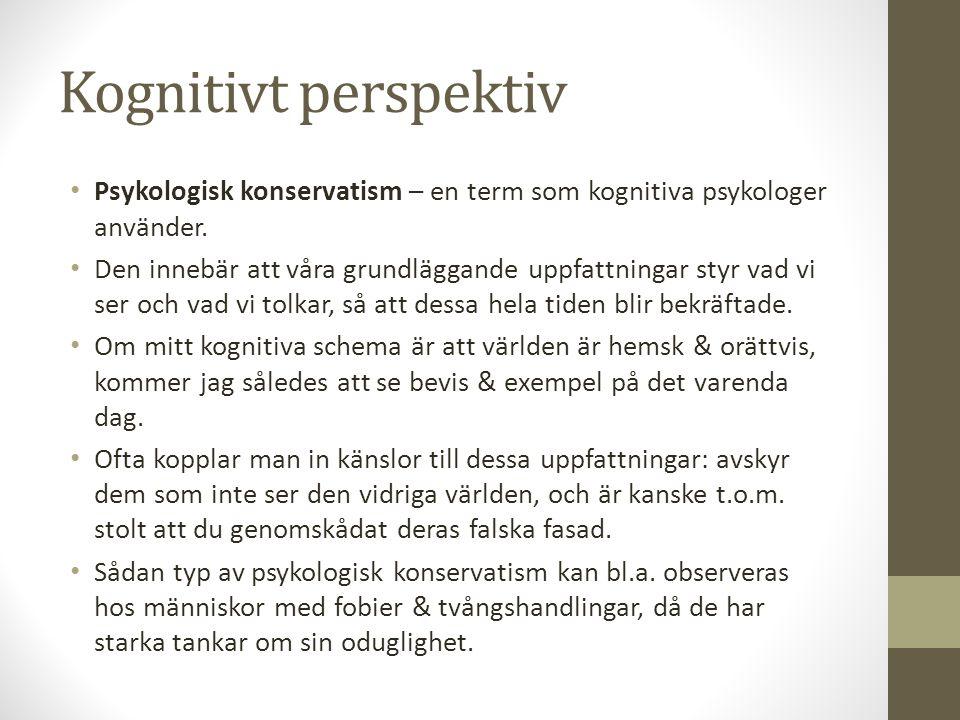 Kognitivt perspektiv Psykologisk konservatism – en term som kognitiva psykologer använder. Den innebär att våra grundläggande uppfattningar styr vad v