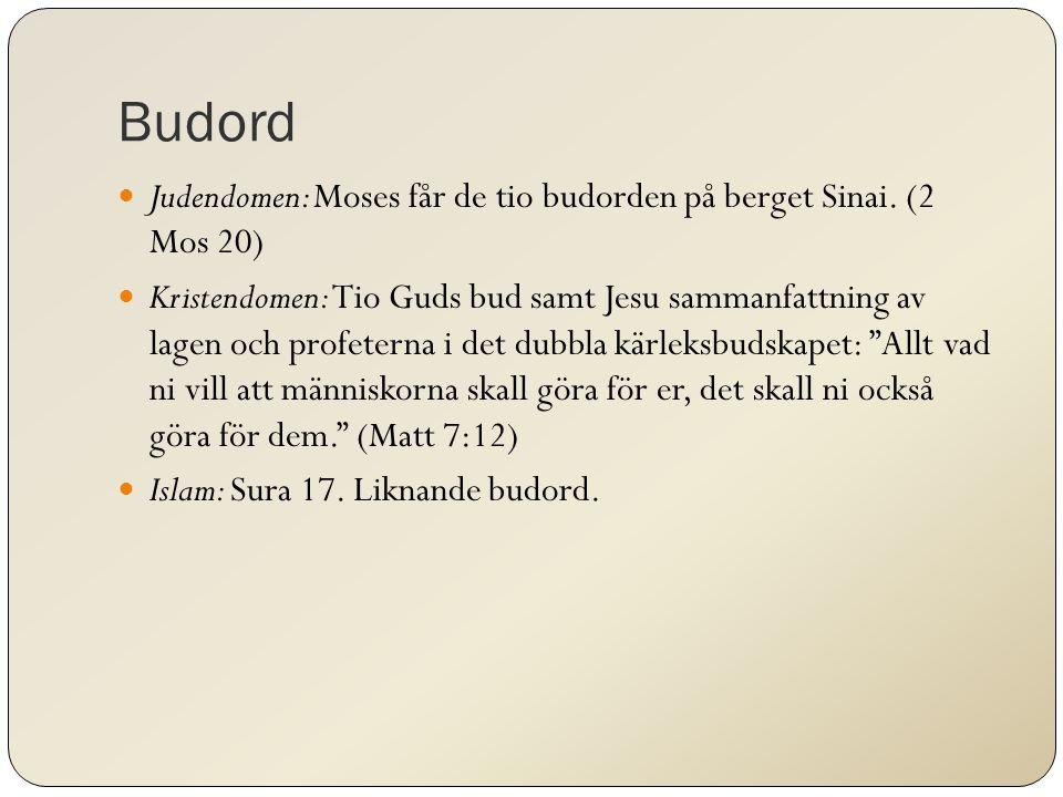 Budord Judendomen: Moses får de tio budorden på berget Sinai. (2 Mos 20) Kristendomen: Tio Guds bud samt Jesu sammanfattning av lagen och profeterna i