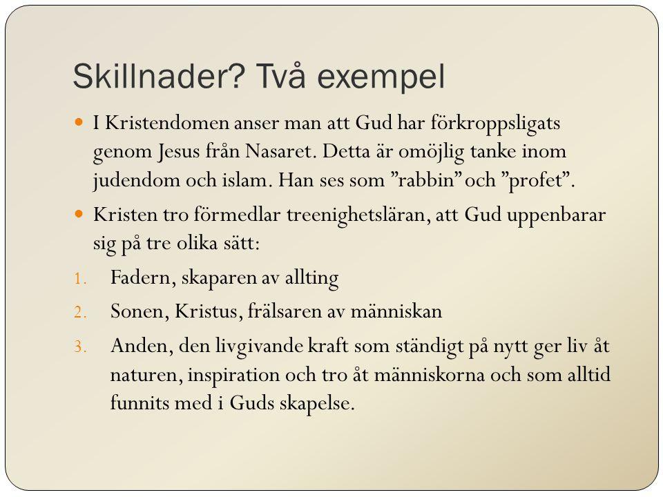 Skillnader? Två exempel I Kristendomen anser man att Gud har förkroppsligats genom Jesus från Nasaret. Detta är omöjlig tanke inom judendom och islam.