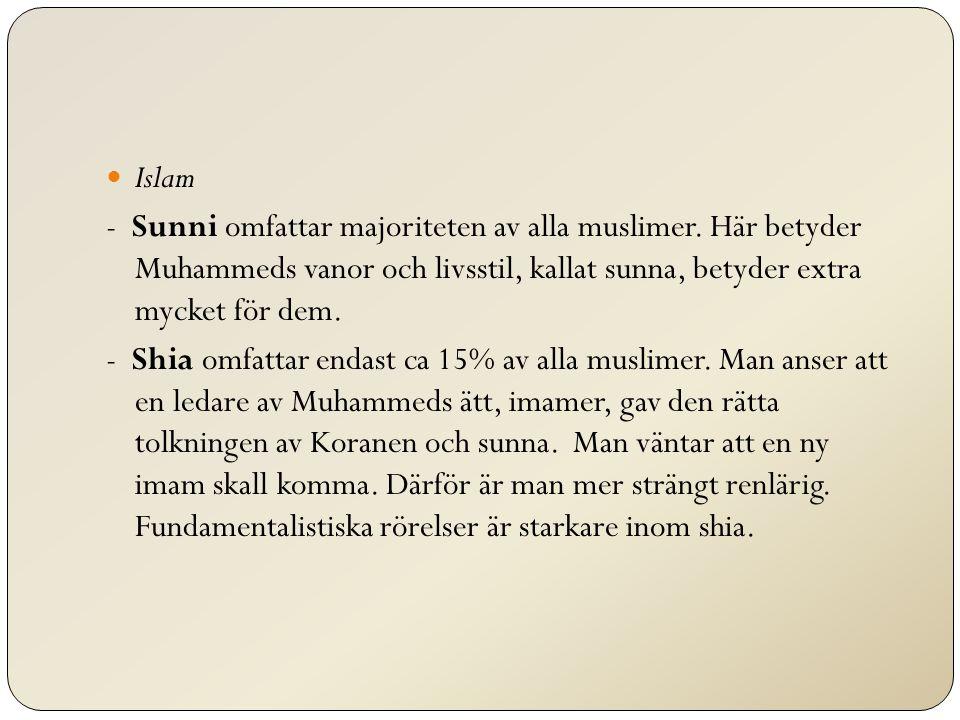 Islam - Sunni omfattar majoriteten av alla muslimer. Här betyder Muhammeds vanor och livsstil, kallat sunna, betyder extra mycket för dem. - Shia omfa