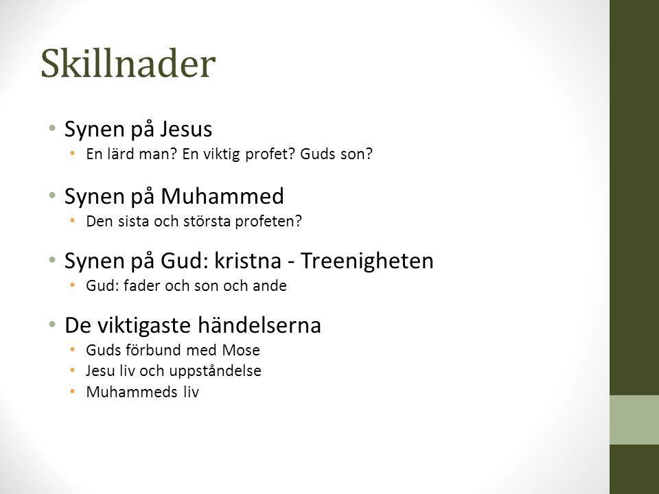 Skillnader Synen på Jesus En lärd man.En viktig profet.
