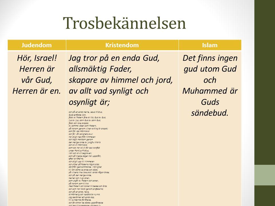 JudendomKristendomIslam Hör, Israel.Herren är vår Gud, Herren är en.