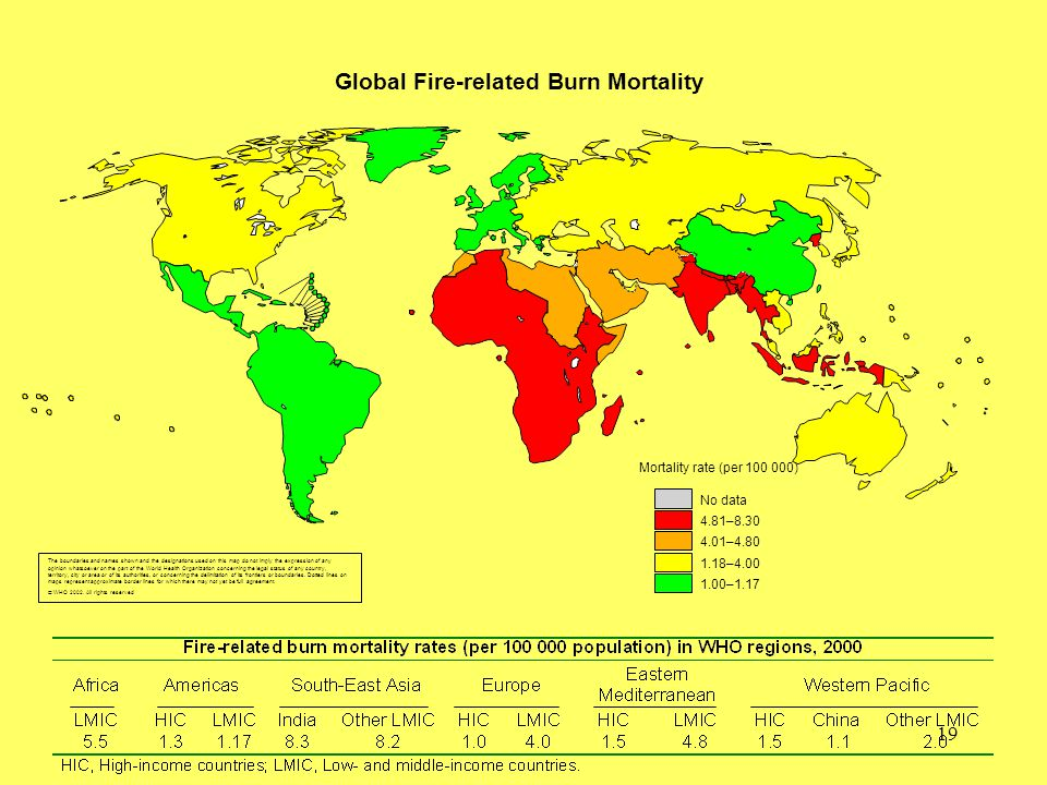 19 Global Fire-related Burn Mortality The boundaries and names shown and the designations used on this map do not imply the expression of any opinion whatsoever on the part of the World Health Organization concerning the legal status of any country, territory, city or area or of its authorities, or concerning the delimitation of its frontiers or boundaries.