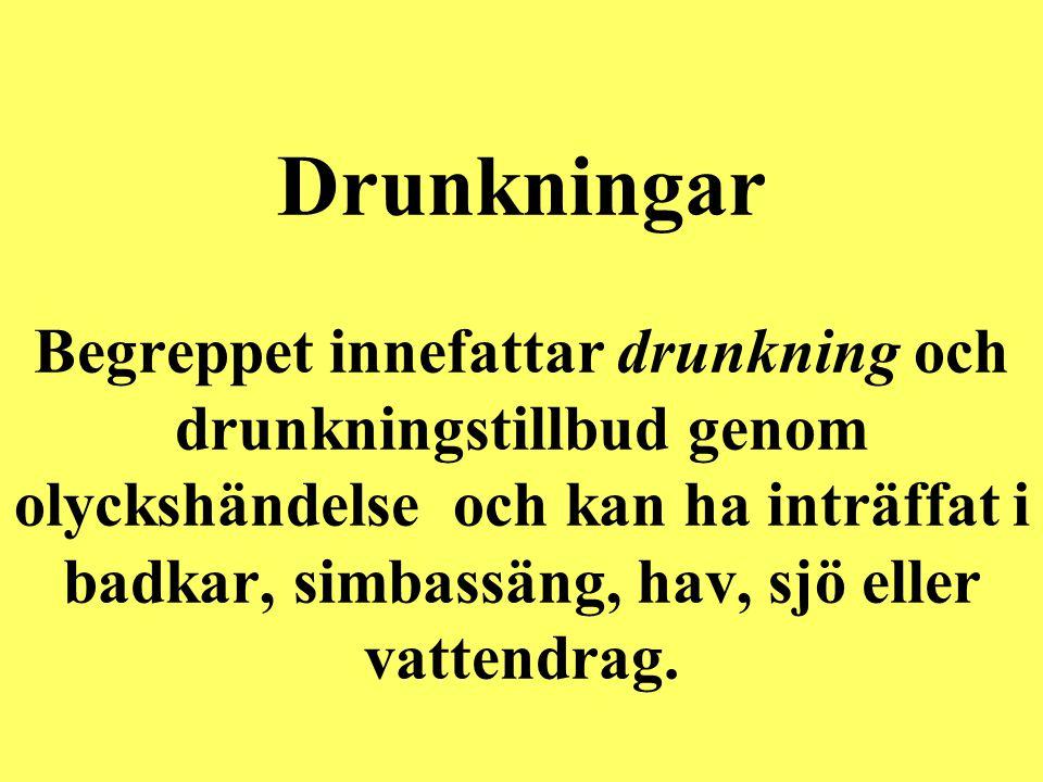 Drunkningar Begreppet innefattar drunkning och drunkningstillbud genom olyckshändelse och kan ha inträffat i badkar, simbassäng, hav, sjö eller vattendrag.