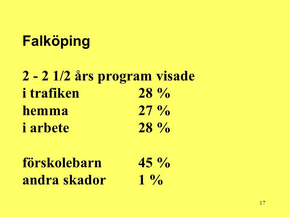 17 Falköping 2 - 2 1/2 års program visade i trafiken 28 % hemma 27 % i arbete 28 % förskolebarn 45 % andra skador 1 %