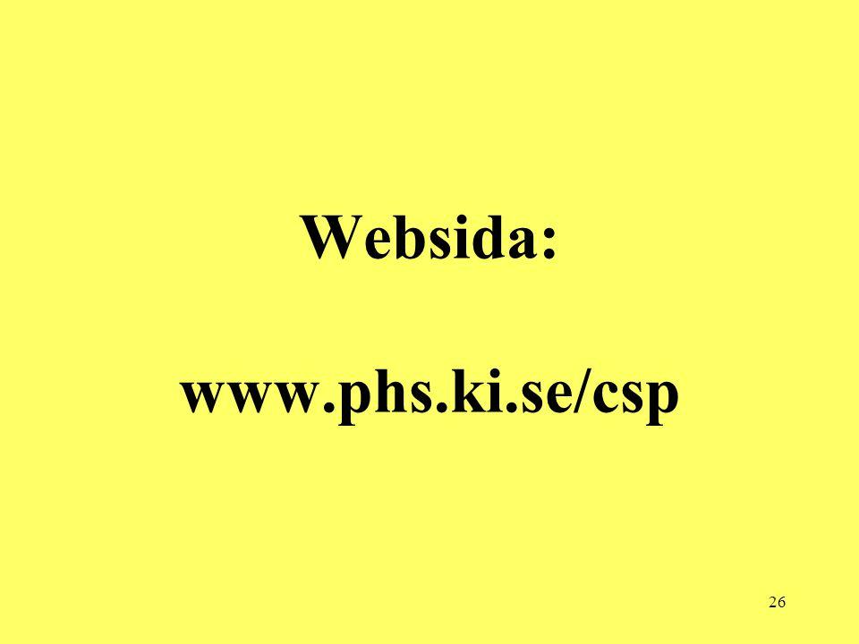 26 Websida: www.phs.ki.se/csp