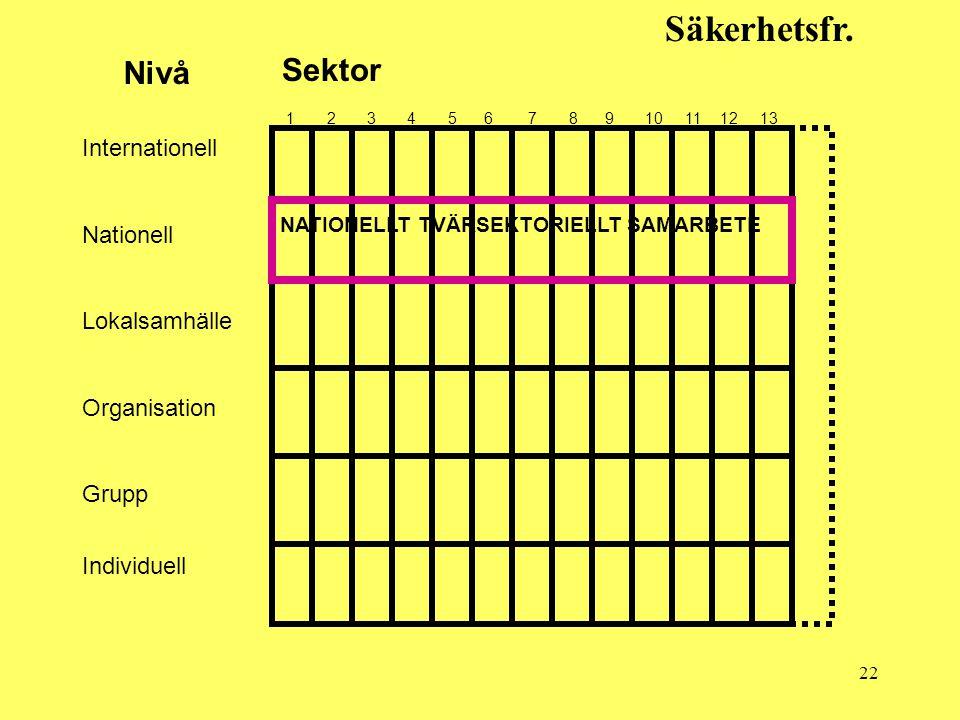 22 Säkerhetsfr. Sektor Nivå 1 2 3 4 5 6 7 8 9 10 11 12 13 Internationell Nationell Lokalsamhälle Organisation Grupp Individuell NATIONELLT TVÄRSEKTORI