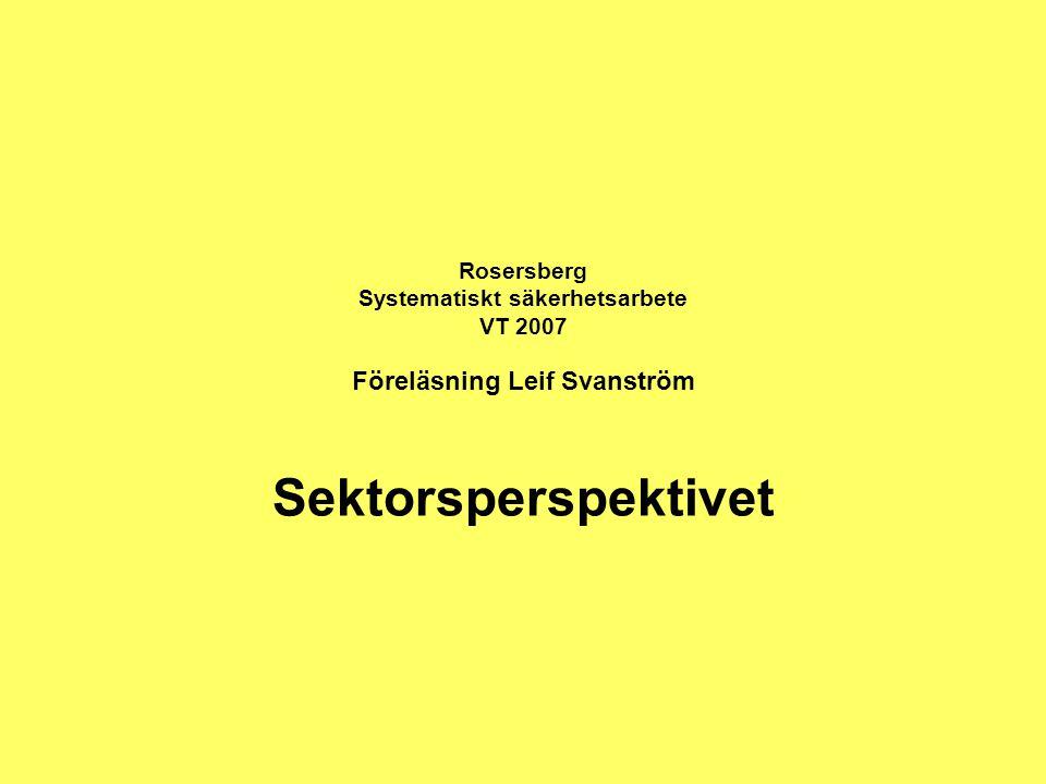 Rosersberg Systematiskt säkerhetsarbete VT 2007 Föreläsning Leif Svanström Sektorsperspektivet