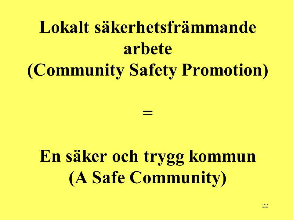 22 Lokalt säkerhetsfrämmande arbete (Community Safety Promotion) = En säker och trygg kommun (A Safe Community)