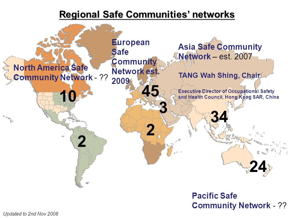 Regional Safe Communities' networks Updated to 2nd Nov 2008 10 2 24 2 45 3 34 Asia Safe Community Network – est.
