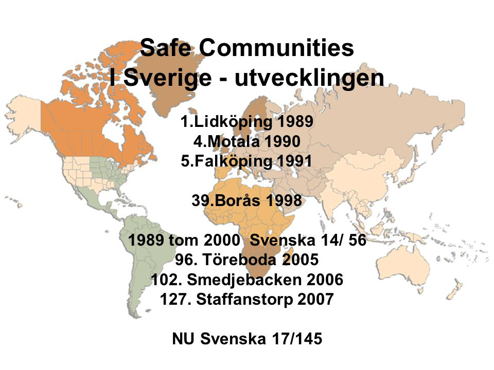 Safe Communities I Sverige - utvecklingen 1.Lidköping 1989 4.Motala 1990 5.Falköping 1991 39.Borås 1998 1989 tom 2000 Svenska 14/ 56 96.