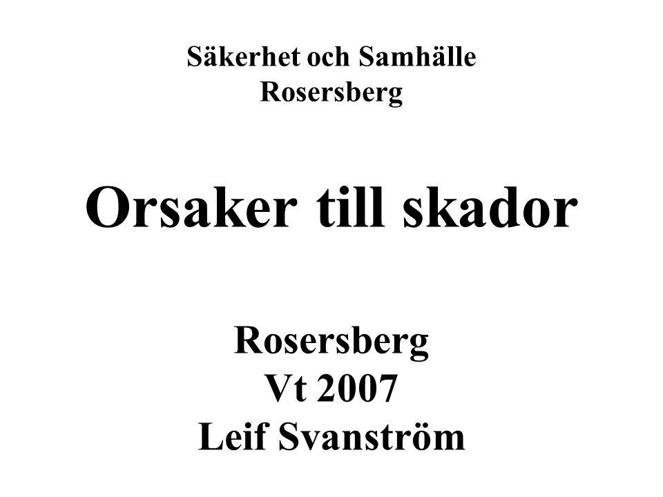 Säkerhet och Samhälle Rosersberg Orsaker till skador Rosersberg Vt 2007 Leif Svanström
