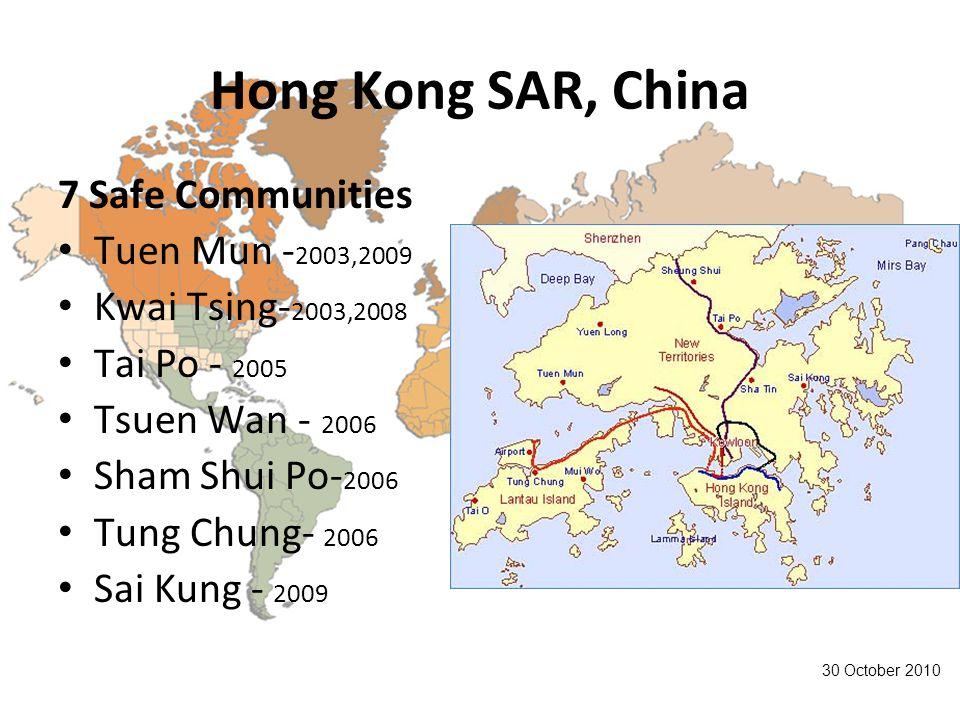 Hong Kong SAR, China 7 Safe Communities Tuen Mun - 2003,2009 Kwai Tsing- 2003,2008 Tai Po - 2005 Tsuen Wan - 2006 Sham Shui Po- 2006 Tung Chung- 2006