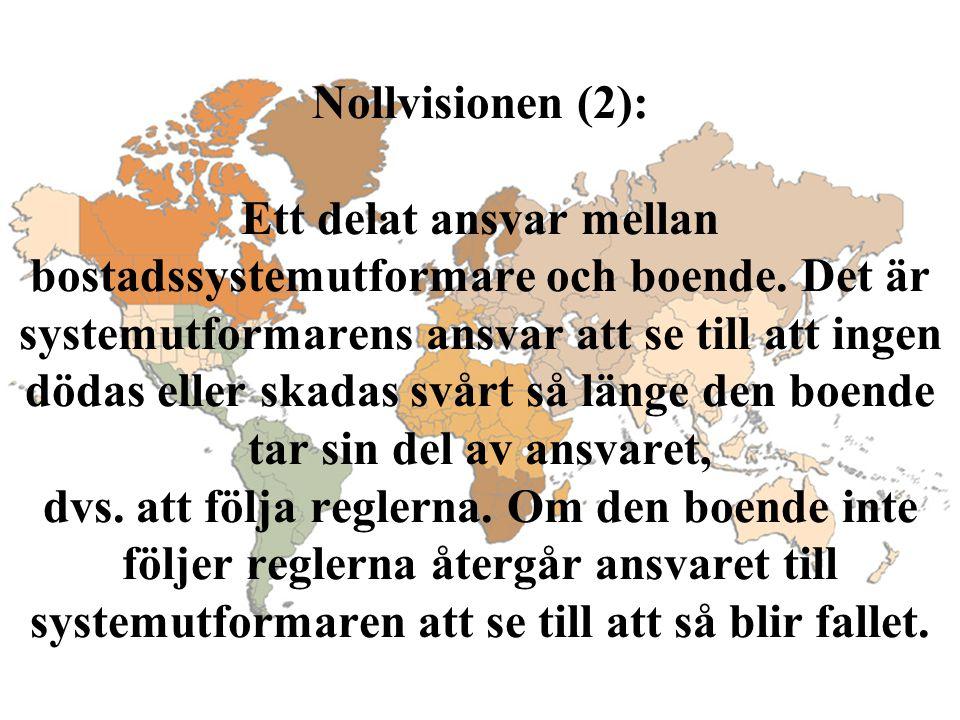 Nollvisionen (2): Ett delat ansvar mellan bostadssystemutformare och boende. Det är systemutformarens ansvar att se till att ingen dödas eller skadas