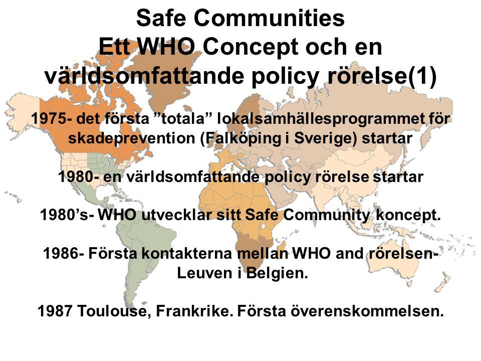 """Safe Communities Ett WHO Concept och en världsomfattande policy rörelse(1) 1975- det första """"totala"""" lokalsamhällesprogrammet för skadeprevention (Fal"""