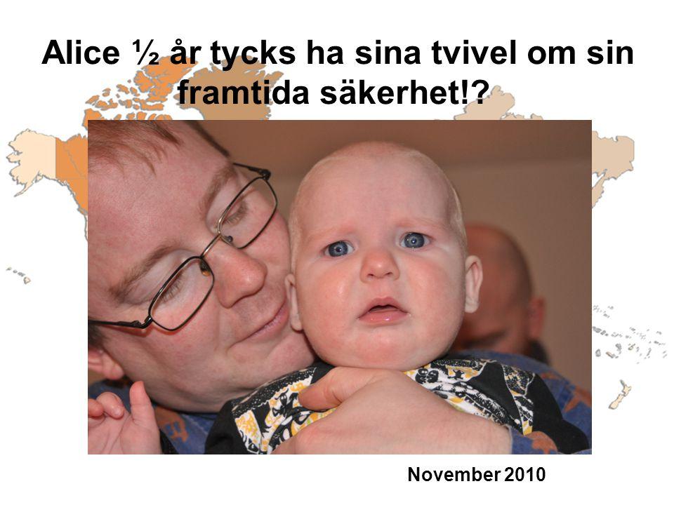 November 2010 Alice ½ år tycks ha sina tvivel om sin framtida säkerhet!?