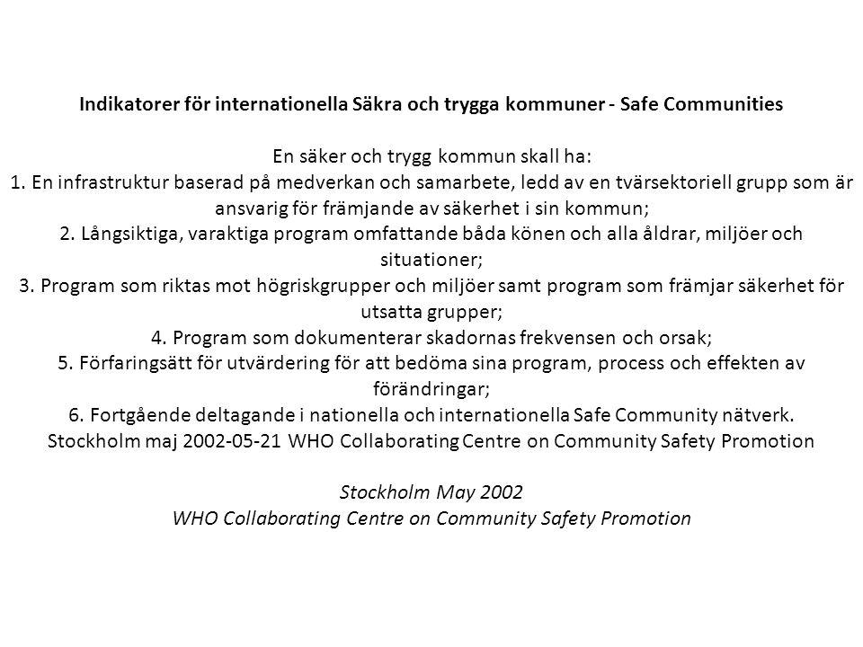 Indikatorer för internationella Säkra och trygga kommuner - Safe Communities En säker och trygg kommun skall ha: 1. En infrastruktur baserad på medver