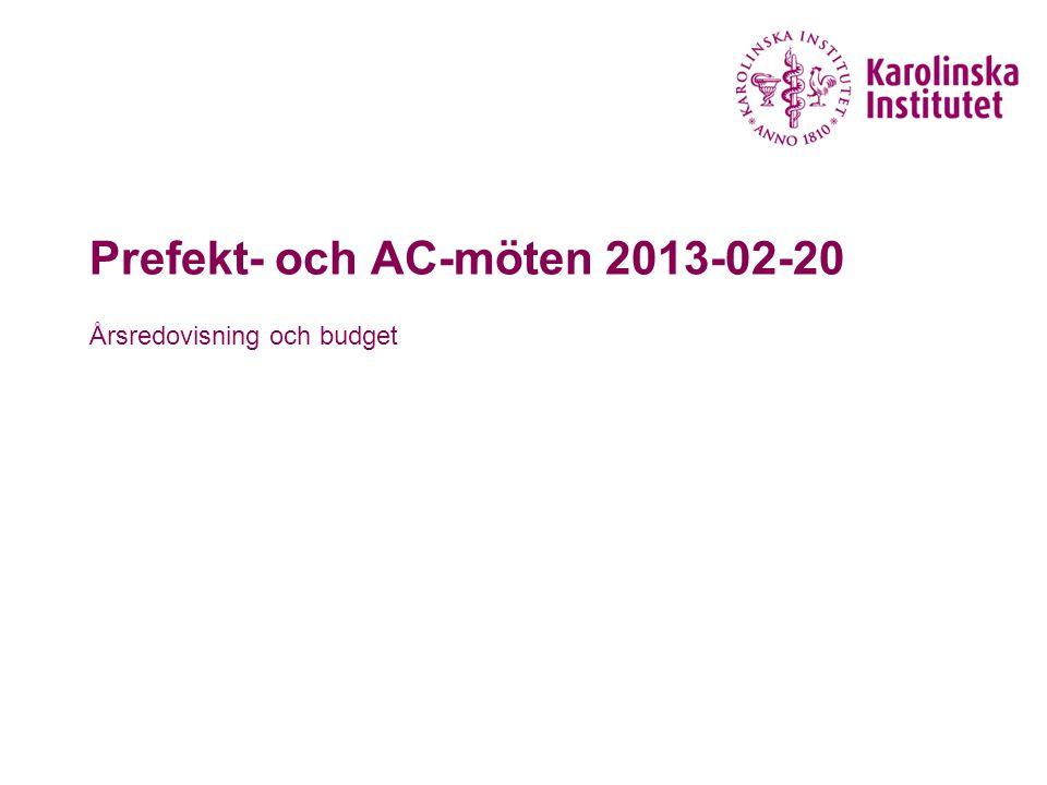 Prefekt- och AC-möten 2013-02-20 Årsredovisning och budget