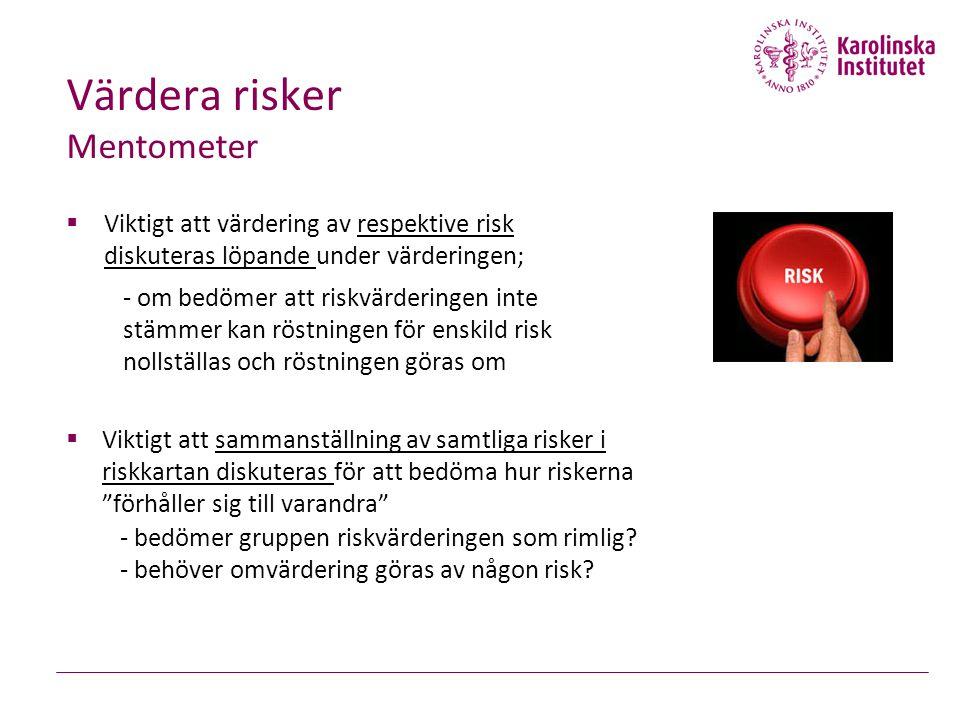 Värdera risker Mentometer  Viktigt att värdering av respektive risk diskuteras löpande under värderingen; - om bedömer att riskvärderingen inte stämmer kan röstningen för enskild risk nollställas och röstningen göras om  Viktigt att sammanställning av samtliga risker i riskkartan diskuteras för att bedöma hur riskerna förhåller sig till varandra - bedömer gruppen riskvärderingen som rimlig.