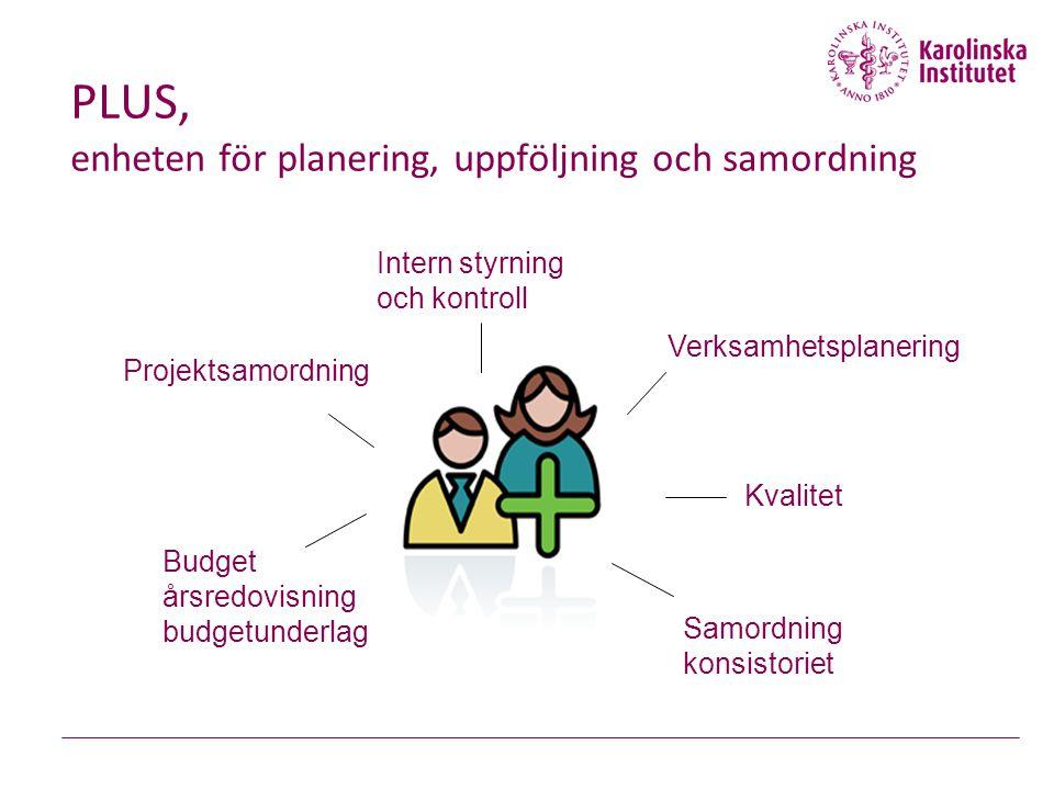 PLUS, enheten för planering, uppföljning och samordning Projektsamordning Kvalitet Budget årsredovisning budgetunderlag Verksamhetsplanering Samordning konsistoriet Intern styrning och kontroll