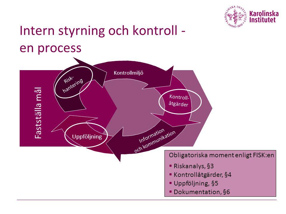Intern styrning och kontroll - en process Fastställa mål Kontrollmiljö Kontroll- åtgärder Information och kommunikation Uppföljning Risk- hanterin g O