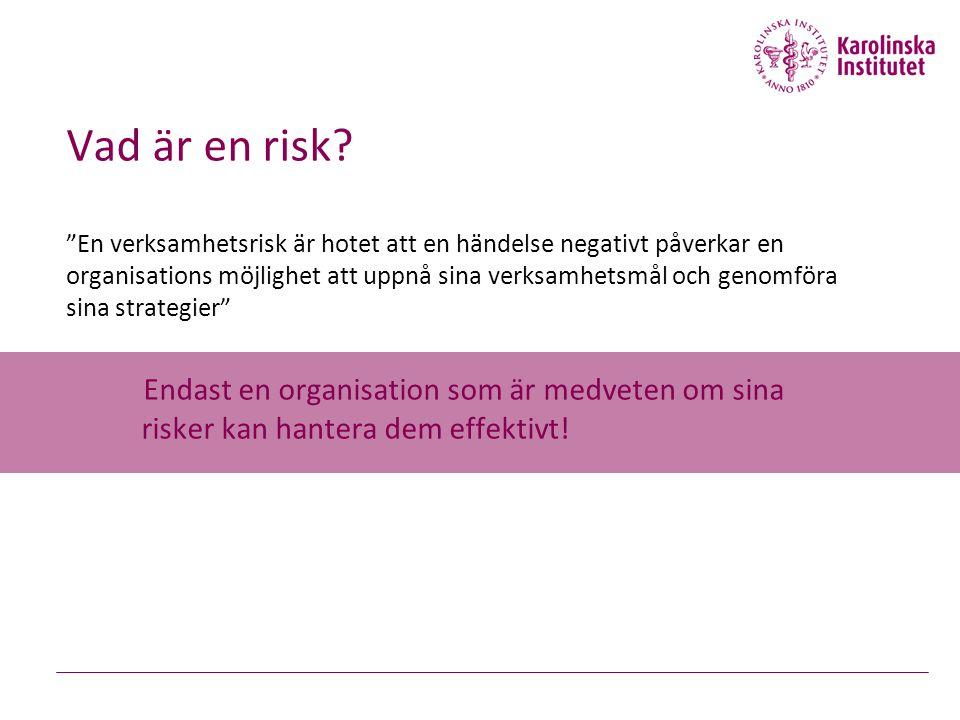 """Vad är en risk? """"En verksamhetsrisk är hotet att en händelse negativt påverkar en organisations möjlighet att uppnå sina verksamhetsmål och genomföra"""