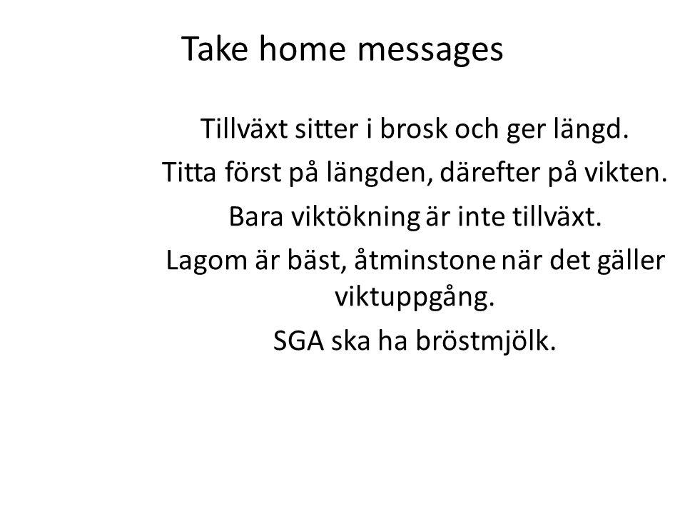 Take home messages Tillväxt sitter i brosk och ger längd. Titta först på längden, därefter på vikten. Bara viktökning är inte tillväxt. Lagom är bäst,