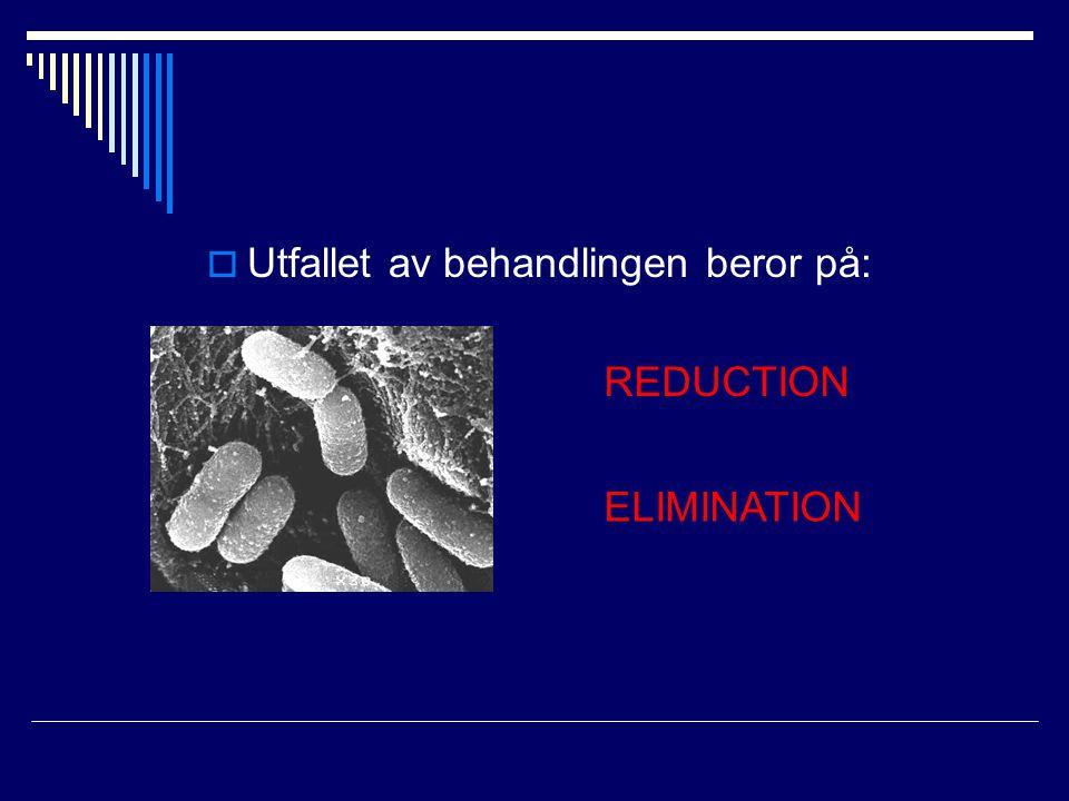  Utfallet av behandlingen beror på: REDUCTION ELIMINATION
