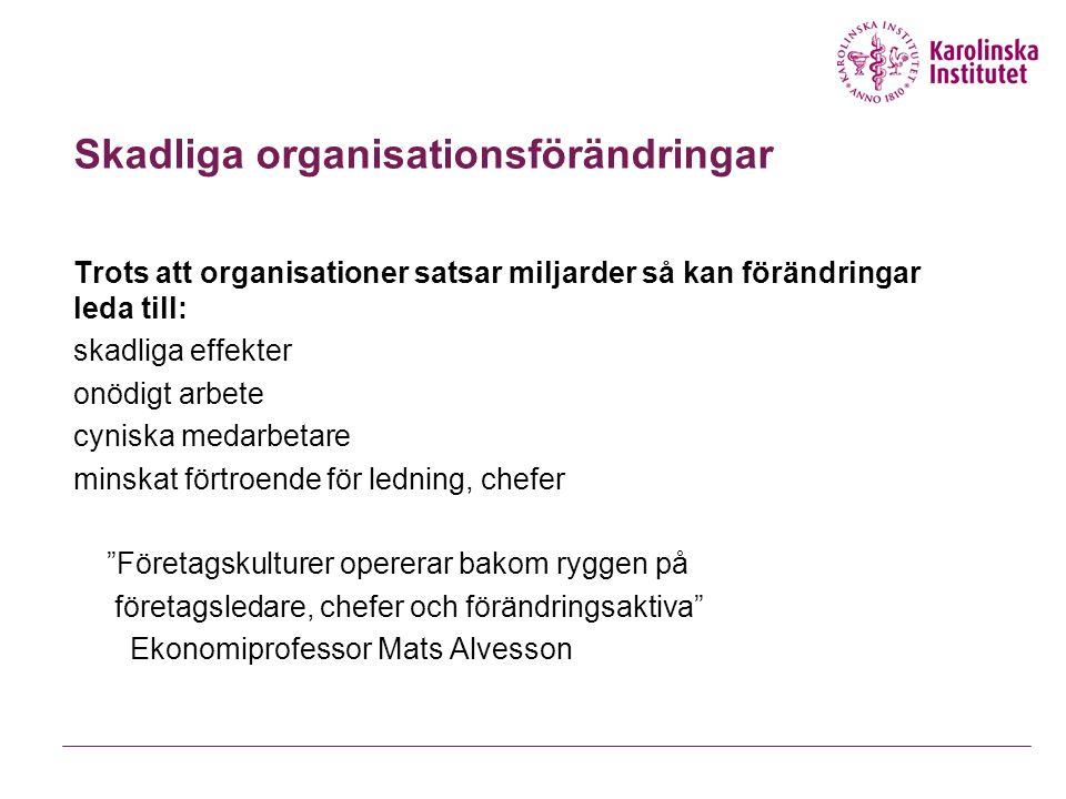Skadliga organisationsförändringar Trots att organisationer satsar miljarder så kan förändringar leda till: skadliga effekter onödigt arbete cyniska m