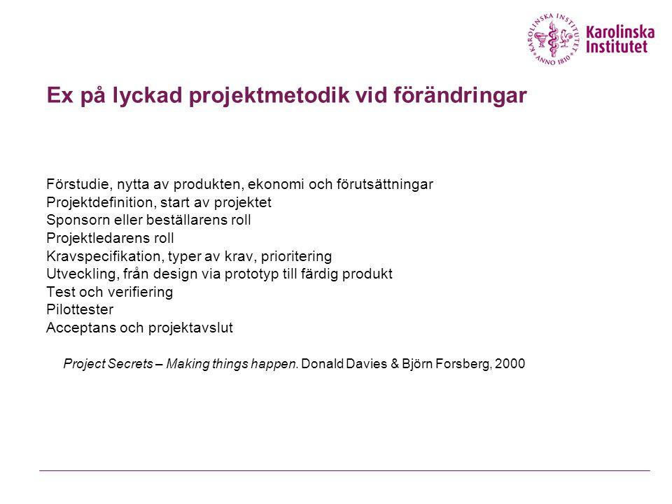 Ex på lyckad projektmetodik vid förändringar Förstudie, nytta av produkten, ekonomi och förutsättningar Projektdefinition, start av projektet Sponsorn