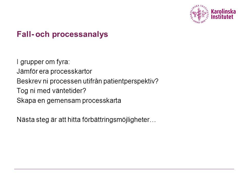 Fall- och processanalys I grupper om fyra: Jämför era processkartor Beskrev ni processen utifrån patientperspektiv? Tog ni med väntetider? Skapa en ge