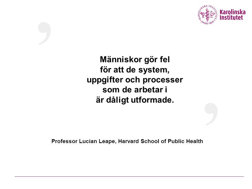 Människor gör fel för att de system, uppgifter och processer som de arbetar i är dåligt utformade. ' ' Professor Lucian Leape, Harvard School of Publi