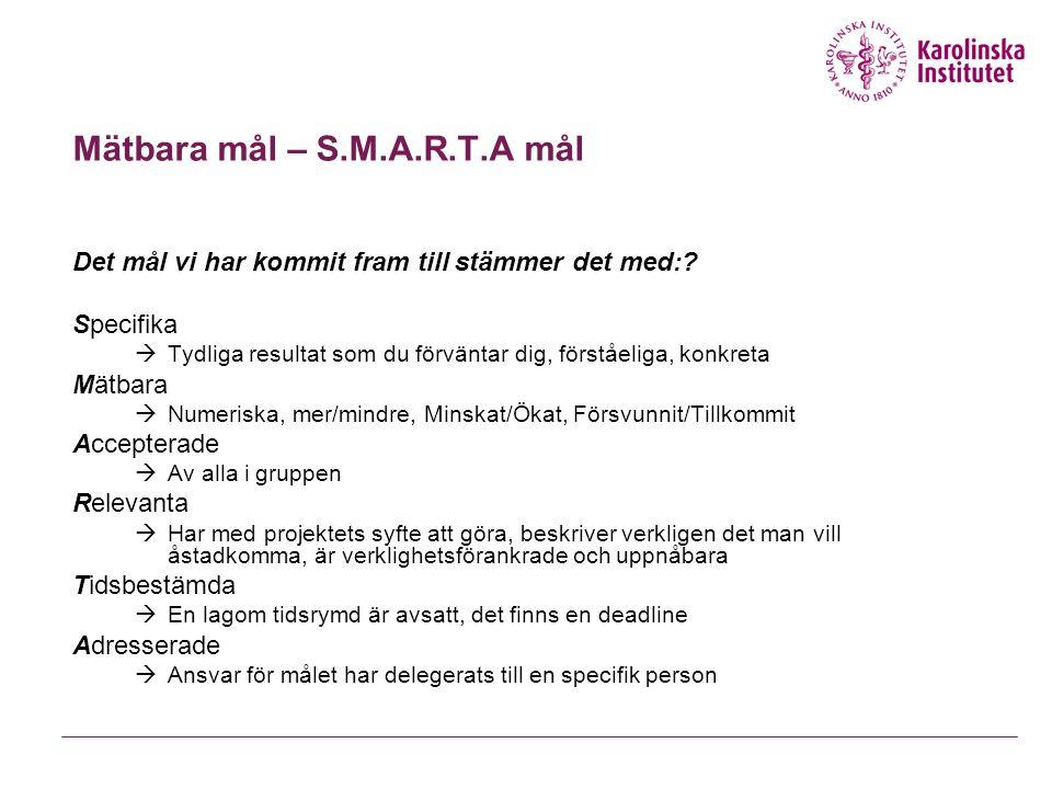 Mätbara mål – S.M.A.R.T.A mål Det mål vi har kommit fram till stämmer det med:? Specifika  Tydliga resultat som du förväntar dig, förståeliga, konkre